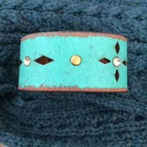 Turquoise and Brown Leather Cuff Bracelet